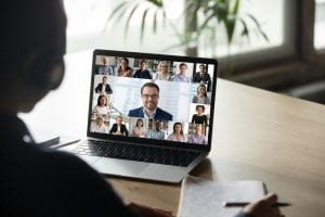 Man on a video meeting
