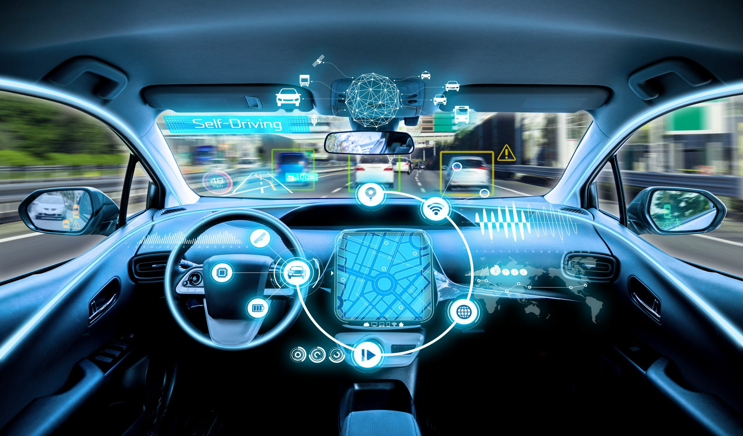 Inside of car showing potential cyber threats
